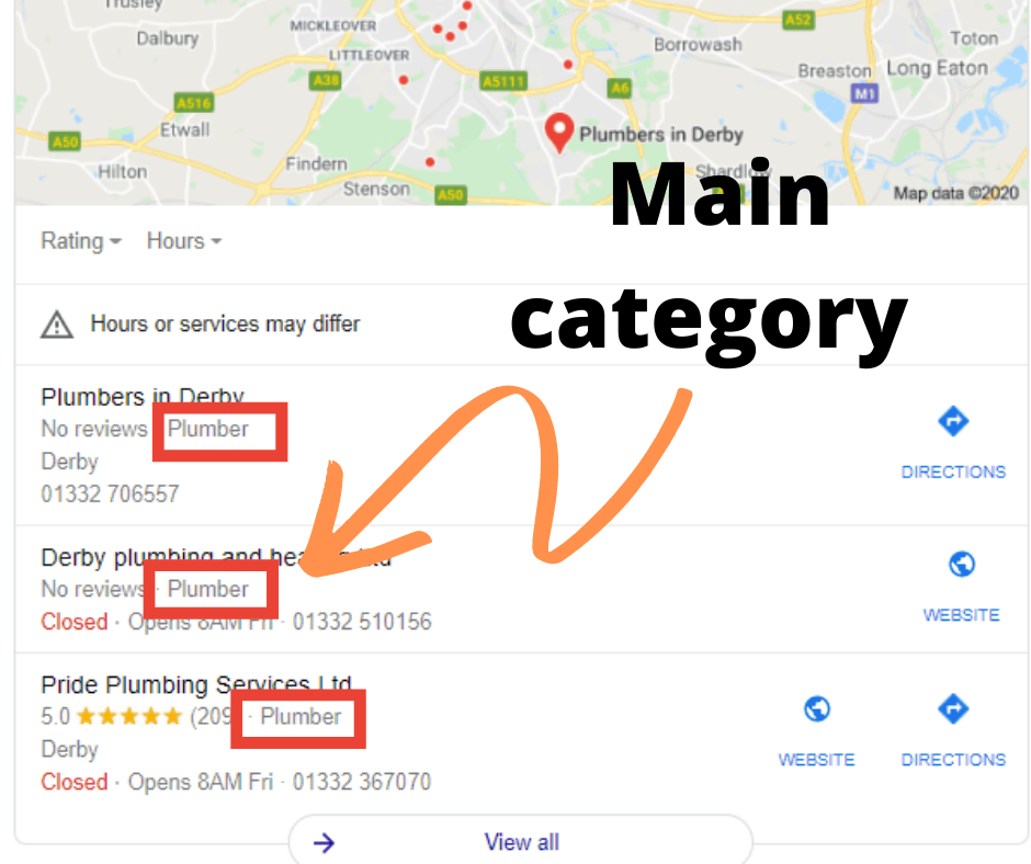 Google MY Business main category